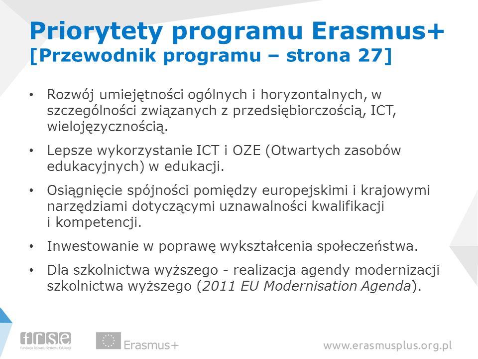 Priorytety programu Erasmus+ [Przewodnik programu – strona 27] Rozwój umiejętności ogólnych i horyzontalnych, w szczególności związanych z przedsiębio