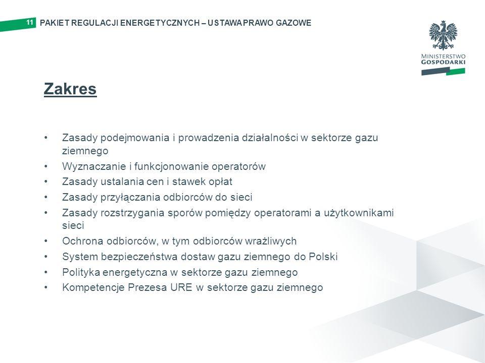 11 Zakres Zasady podejmowania i prowadzenia działalności w sektorze gazu ziemnego Wyznaczanie i funkcjonowanie operatorów Zasady ustalania cen i stawek opłat Zasady przyłączania odbiorców do sieci Zasady rozstrzygania sporów pomiędzy operatorami a użytkownikami sieci Ochrona odbiorców, w tym odbiorców wrażliwych System bezpieczeństwa dostaw gazu ziemnego do Polski Polityka energetyczna w sektorze gazu ziemnego Kompetencje Prezesa URE w sektorze gazu ziemnego PAKIET REGULACJI ENERGETYCZNYCH – USTAWA PRAWO GAZOWE