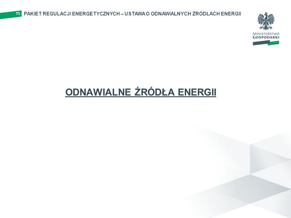 PAKIET REGULACJI ENERGETYCZNYCH – USTAWA O ODNAWIALNYCH ŹRÓDŁACH ENERGII 15 ODNAWIALNE ŹRÓDŁA ENERGII