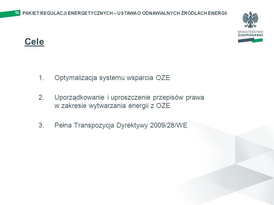 PAKIET REGULACJI ENERGETYCZNYCH – USTAWA O ODNAWIALNYCH ŹRÓDŁACH ENERGII 16 Cele 1.Optymalizacja systemu wsparcia OZE 2.Uporządkowanie i uproszczenie przepisów prawa w zakresie wytwarzania energii z OZE 3.Pełna Transpozycja Dyrektywy 2009/28/WE