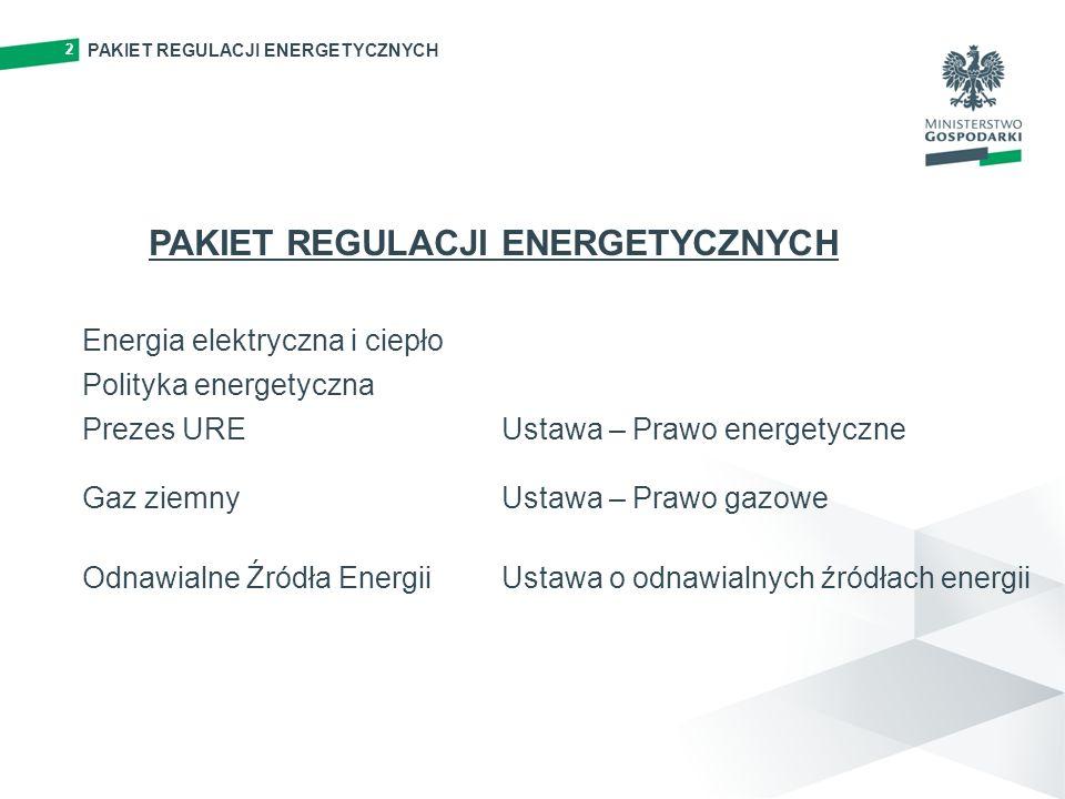 PAKIET REGULACJI ENERGETYCZNYCH 2 Energia elektryczna i ciepło Polityka energetyczna Prezes URE Gaz ziemny Odnawialne Źródła Energii Ustawa – Prawo energetyczne Ustawa – Prawo gazowe Ustawa o odnawialnych źródłach energii