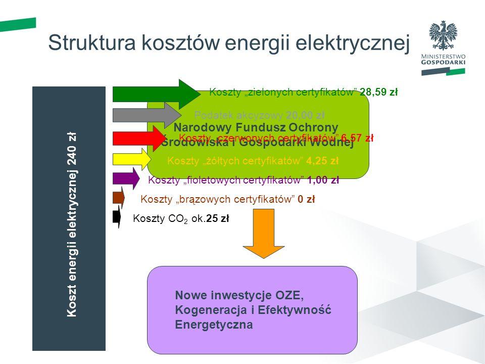 Narodowy Fundusz Ochrony Środowiska i Gospodarki Wodnej Struktura kosztów energii elektrycznej Koszty zielonych certyfikatów 28,59 zł Podatek akcyzowy 20,00 zł Koszty czerwonych certyfikatów 6,57 zł Koszty żółtych certyfikatów 4,25 zł Nowe inwestycje OZE, Kogeneracja i Efektywność Energetyczna Koszt energii elektrycznej 240 zł 2008 – 286 mln zł 2009 – 470 mln zł 2010 – 441 mln zł Koszty fioletowych certyfikatów 1,00 zł Koszty brązowych certyfikatów 0 zł Koszty CO 2 ok.25 zł