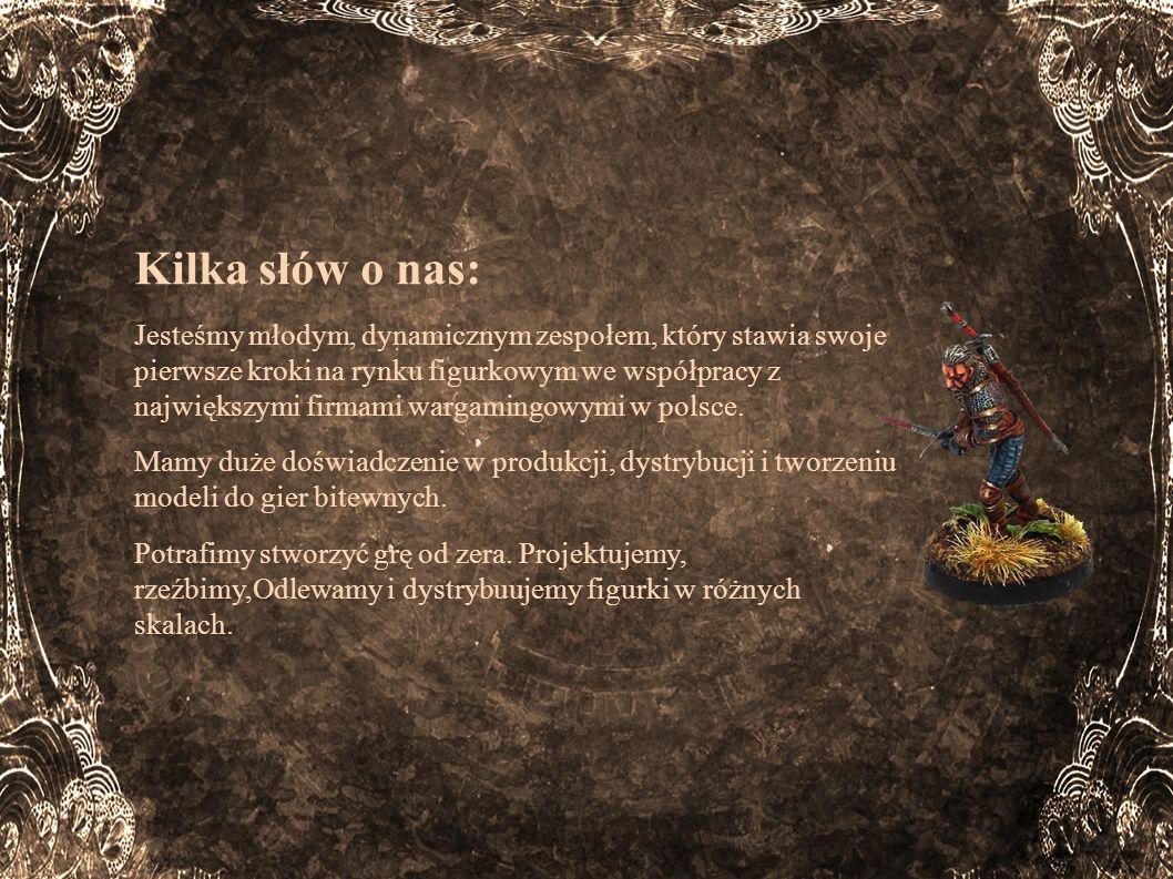 Kilka słów o nas: Nasz zespół tworzą 3 osoby: Oskar Kida – student prawa, a jednocześnie gracz z wieloletnim doświadczeniem (aktualny Mistrz Polski w Ogniem i Mieczem; uczestnik Mistrzostw Świata Lord of The Rings SBG); ekspert w zakresie znajomości zasad i trendów na rynku gier bitewnych Łukasz Wnuk – współtwórca różnych systemów bitewnych.