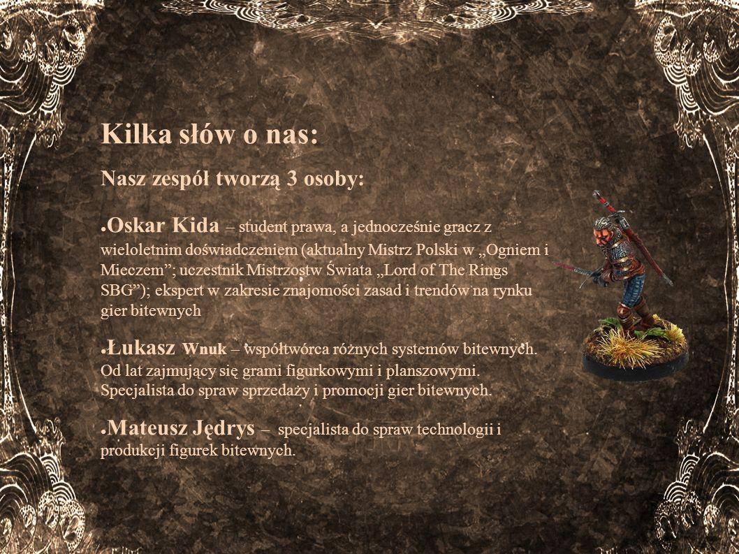 Kilka słów o nas: Nasz zespół tworzą 3 osoby: Oskar Kida – student prawa, a jednocześnie gracz z wieloletnim doświadczeniem (aktualny Mistrz Polski w