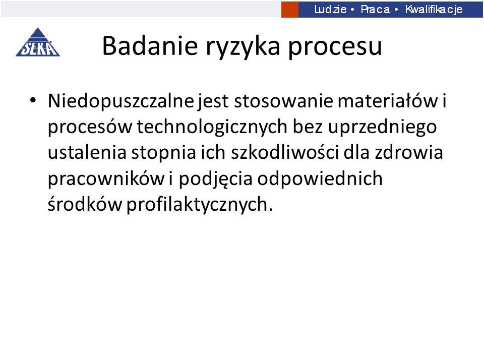 Badanie ryzyka procesu Niedopuszczalne jest stosowanie materiałów i procesów technologicznych bez uprzedniego ustalenia stopnia ich szkodliwości dla z