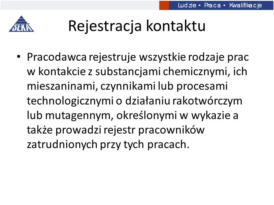 Rejestracja kontaktu Pracodawca rejestruje wszystkie rodzaje prac w kontakcie z substancjami chemicznymi, ich mieszaninami, czynnikami lub procesami t