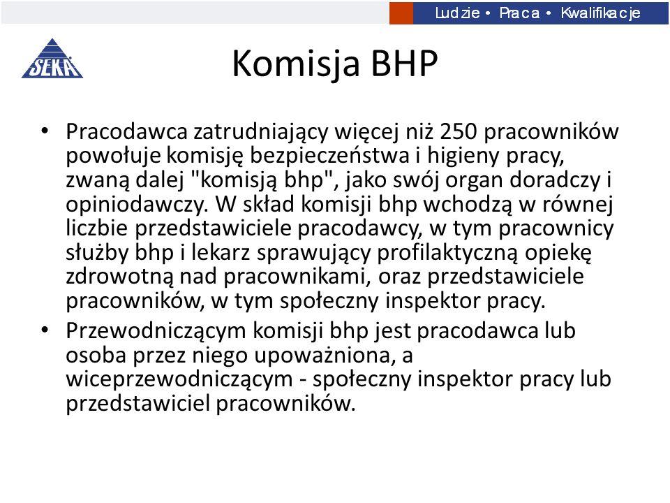 Komisja BHP Pracodawca zatrudniający więcej niż 250 pracowników powołuje komisję bezpieczeństwa i higieny pracy, zwaną dalej