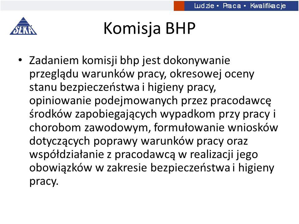 Komisja BHP Zadaniem komisji bhp jest dokonywanie przeglądu warunków pracy, okresowej oceny stanu bezpieczeństwa i higieny pracy, opiniowanie podejmow