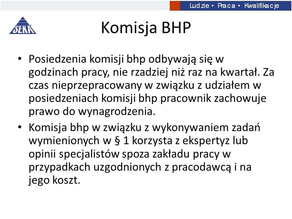 Komisja BHP Posiedzenia komisji bhp odbywają się w godzinach pracy, nie rzadziej niż raz na kwartał. Za czas nieprzepracowany w związku z udziałem w p