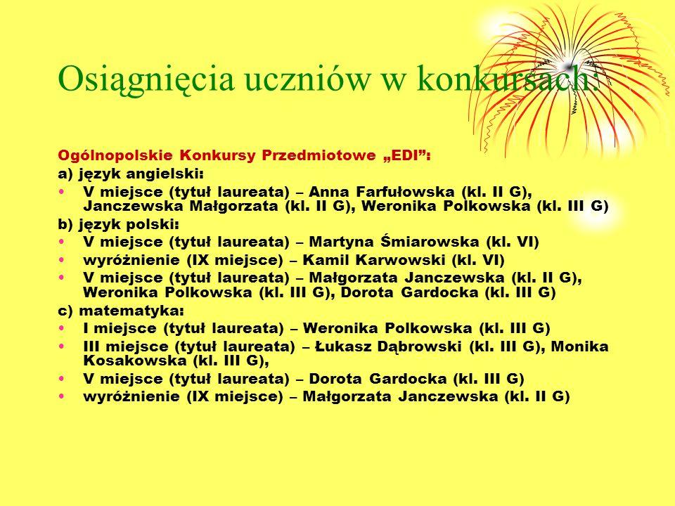 Osiągnięcia uczniów w konkursach: Ogólnopolskie Konkursy Przedmiotowe EDI: a) język angielski: V miejsce (tytuł laureata) – Anna Farfułowska (kl.