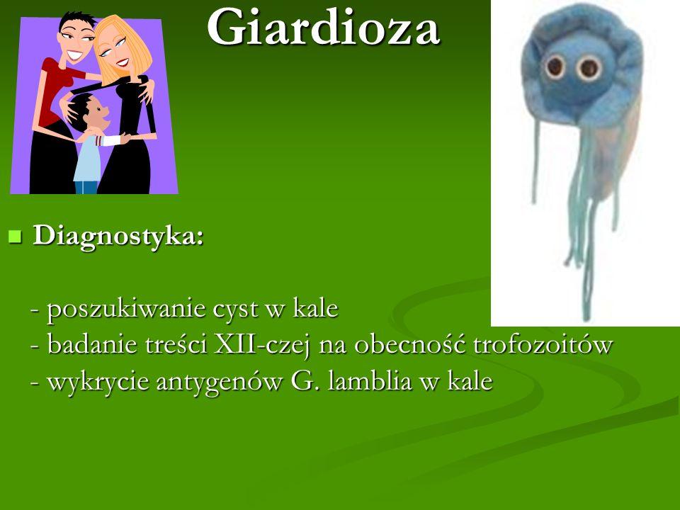Giardioza Diagnostyka: Diagnostyka: - poszukiwanie cyst w kale - poszukiwanie cyst w kale - badanie treści XII-czej na obecność trofozoitów - badanie