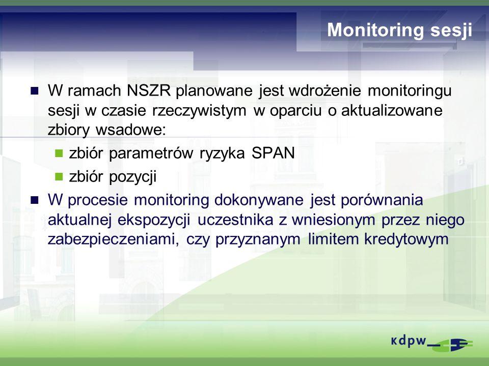 Monitoring sesji W ramach NSZR planowane jest wdrożenie monitoringu sesji w czasie rzeczywistym w oparciu o aktualizowane zbiory wsadowe: zbiór parame