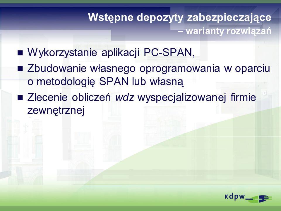 Wstępne depozyty zabezpieczające – warianty rozwiązań Wykorzystanie aplikacji PC-SPAN, Zbudowanie własnego oprogramowania w oparciu o metodologię SPAN