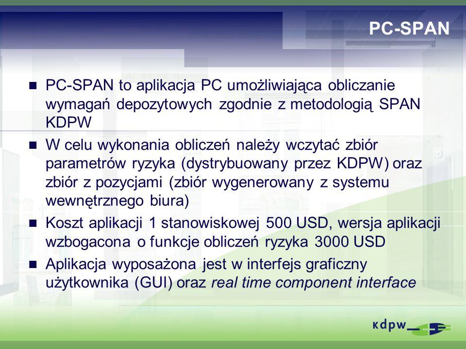 PC-SPAN PC-SPAN to aplikacja PC umożliwiająca obliczanie wymagań depozytowych zgodnie z metodologią SPAN KDPW W celu wykonania obliczeń należy wczytać