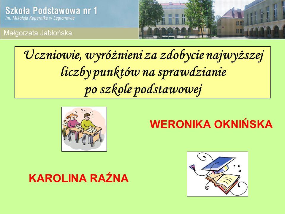 Uczniowie, wyróżnieni za zdobycie najwyższej liczby punktów na sprawdzianie po szkole podstawowej KAROLINA RAŹNA WERONIKA OKNIŃSKA