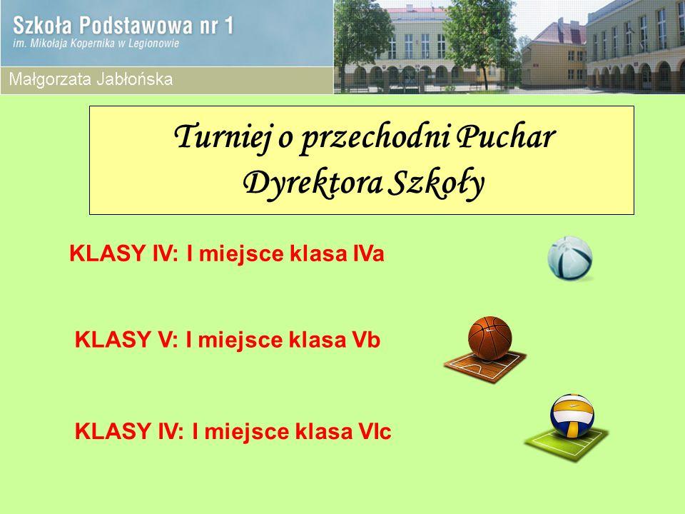 Turniej o przechodni Puchar Dyrektora Szkoły KLASY IV: I miejsce klasa IVa KLASY V: I miejsce klasa Vb KLASY IV: I miejsce klasa VIc