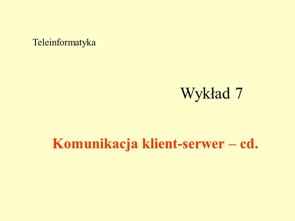 Wykład 7 Teleinformatyka Komunikacja klient-serwer – cd.