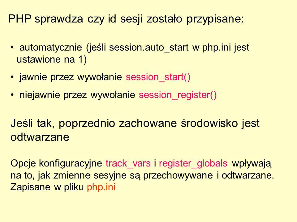 PHP sprawdza czy id sesji zostało przypisane: automatycznie (jeśli session.auto_start w php.ini jest ustawione na 1) jawnie przez wywołanie session_st