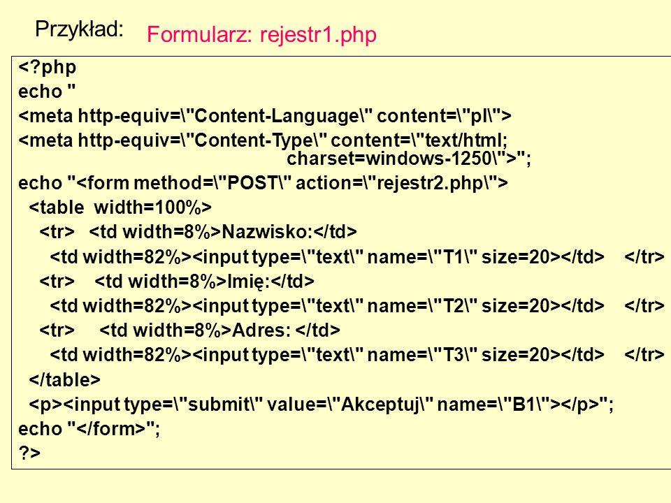 Przykład: <?php echo