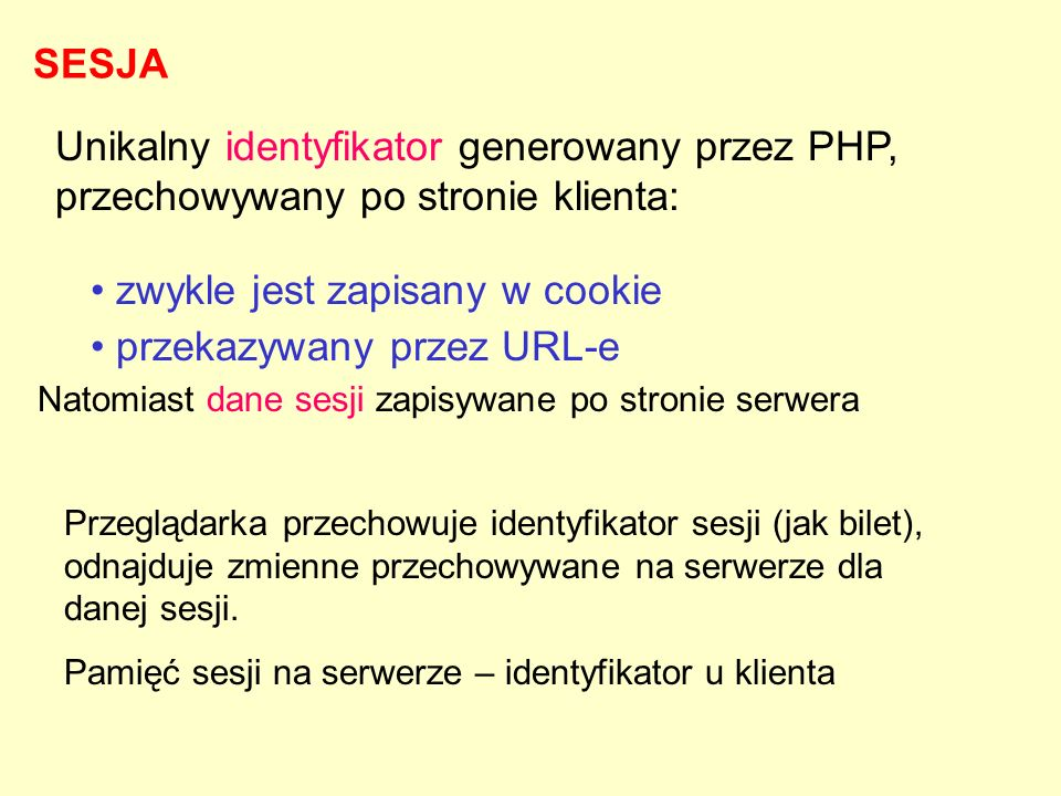 Unikalny identyfikator generowany przez PHP, przechowywany po stronie klienta: zwykle jest zapisany w cookie przekazywany przez URL-e Natomiast dane s