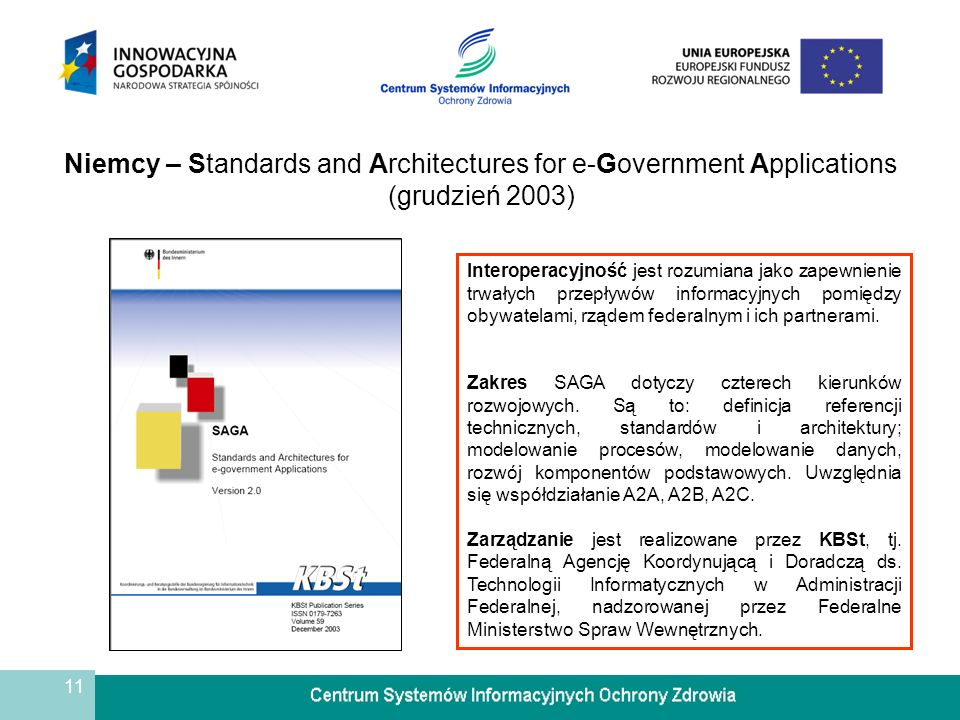 11 Niemcy – Standards and Architectures for e-Government Applications (grudzień 2003) Interoperacyjność jest rozumiana jako zapewnienie trwałych przep
