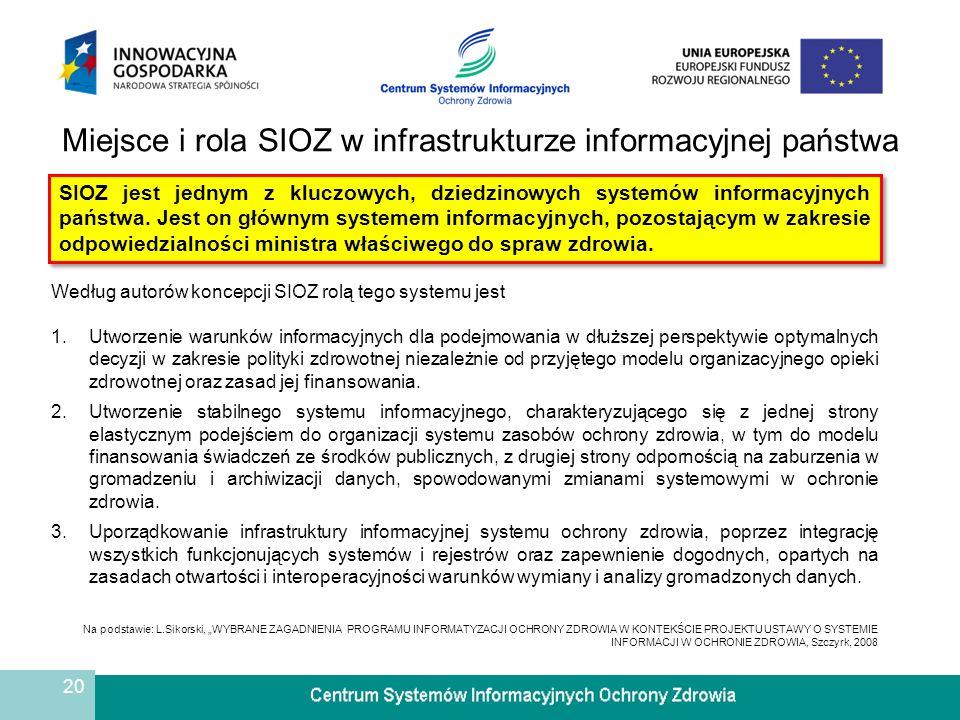 21 Rola SIOZ w infrastrukturze informacyjnej państwa Najważniejsze, kluczowe usługi w Programie Informatyzacji Ochrony Zdrowia (PIOZ), będącym informatyczną realizacją SIOZ: 1.Umożliwienie szybkiego dostępu do informacji o świadczeniach na rzecz pacjenta: pacjentom, lekarzom oraz podmiotom uprawnionym do dostępu do takiej informacji, 2.Kontrola wydatkowania środków publicznych przeznaczonych na opiekę zdrowotną oraz podniesienie efektywności ich wykorzystania poprzez uszczelnienie systemu, 3.Podniesienie jakości usług medycznych poprzez zwiększenie ich dostępności oraz wprowadzenie nowych metod np.