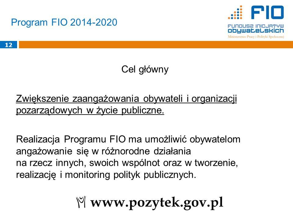 Program FIO 2014-2020 12 Cel główny Zwiększenie zaangażowania obywateli i organizacji pozarządowych w życie publiczne. Realizacja Programu FIO ma umoż