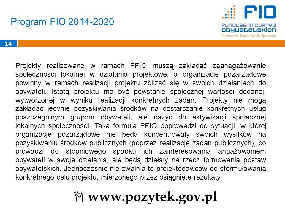 Program FIO 2014-2020 14 Projekty realizowane w ramach PFIO muszą zakładać zaanagażowanie społeczności lokalnej w działania projektowe, a organizacje