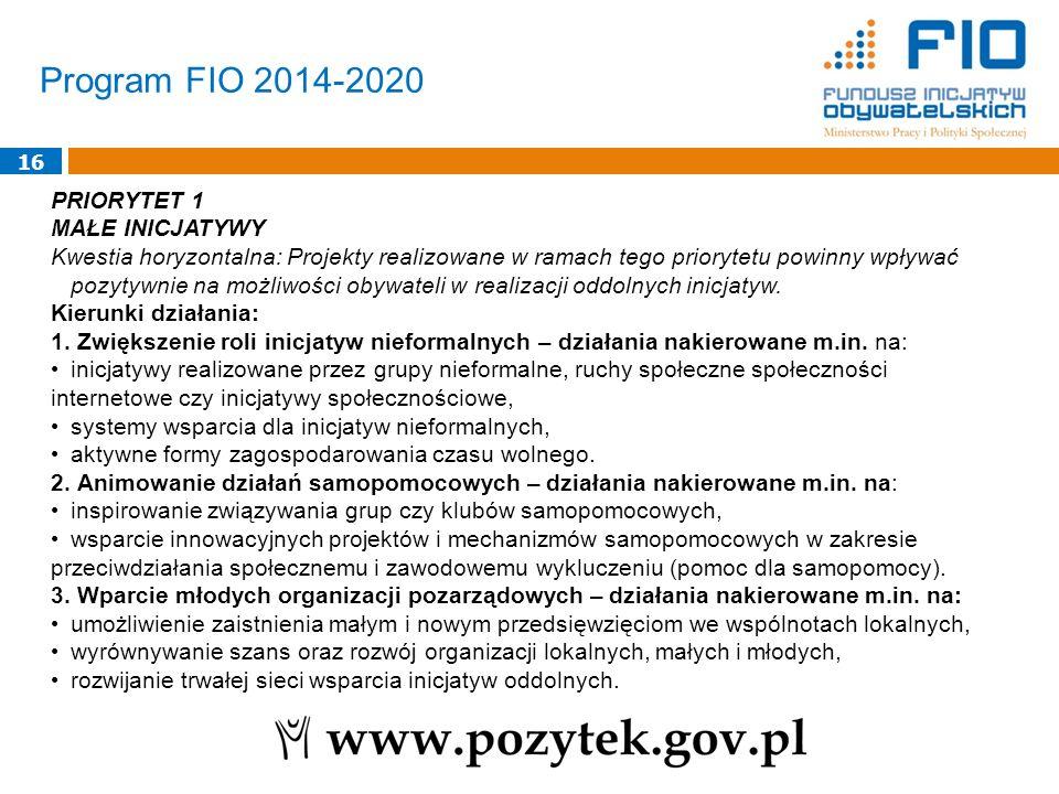 Program FIO 2014-2020 16 PRIORYTET 1 MAŁE INICJATYWY Kwestia horyzontalna: Projekty realizowane w ramach tego priorytetu powinny wpływać pozytywnie na