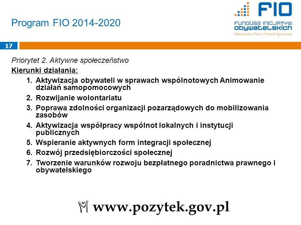 Program FIO 2014-2020 17 Priorytet 2. Aktywne społeczeństwo Kierunki działania: 1.Aktywizacja obywateli w sprawach wspólnotowych Animowanie działań sa