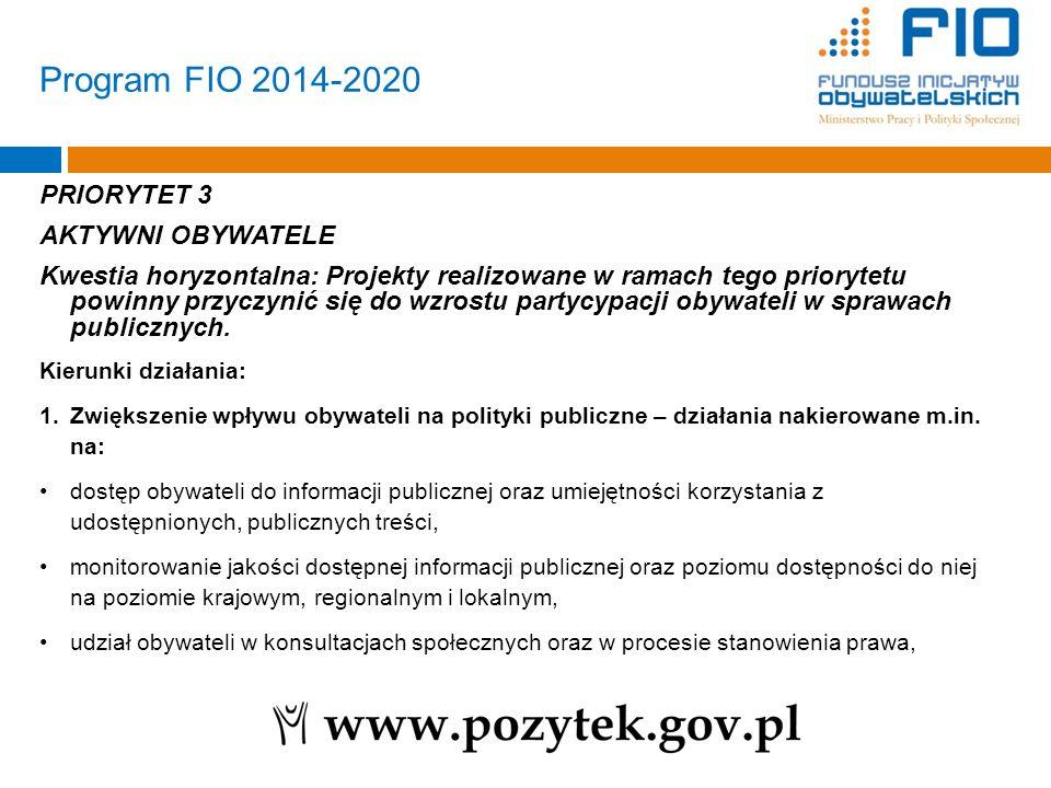 PRIORYTET 3 AKTYWNI OBYWATELE Kwestia horyzontalna: Projekty realizowane w ramach tego priorytetu powinny przyczynić się do wzrostu partycypacji obywa