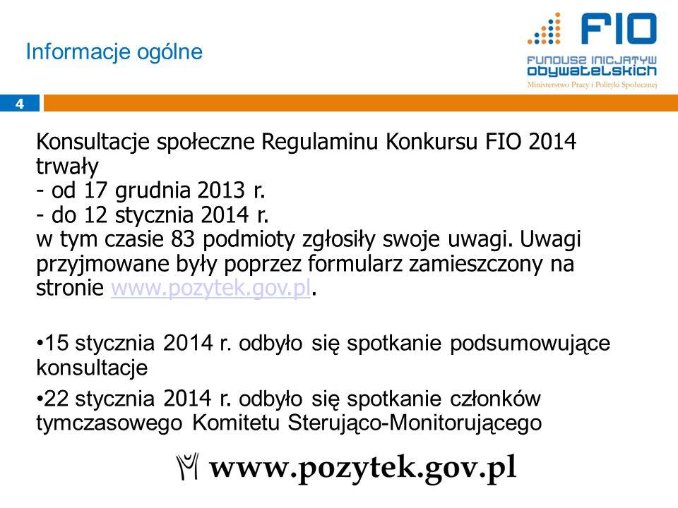 Informacje ogólne 4 Konsultacje społeczne Regulaminu Konkursu FIO 2014 trwały - od 17 grudnia 2013 r. - do 12 stycznia 2014 r. w tym czasie 83 podmiot