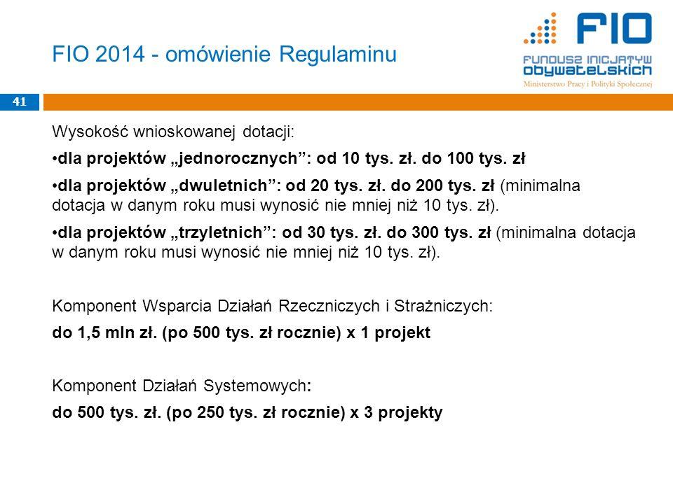 Wysokość wnioskowanej dotacji: dla projektów jednorocznych: od 10 tys. zł. do 100 tys. zł dla projektów dwuletnich: od 20 tys. zł. do 200 tys. zł (min