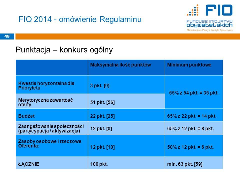 FIO 2014 - omówienie Regulaminu 49 Maksymalna ilość punktówMinimum punktowe Kwestia horyzontalna dla Priorytetu 3 pkt. [9] 65% z 54 pkt. = 35 pkt. Mer