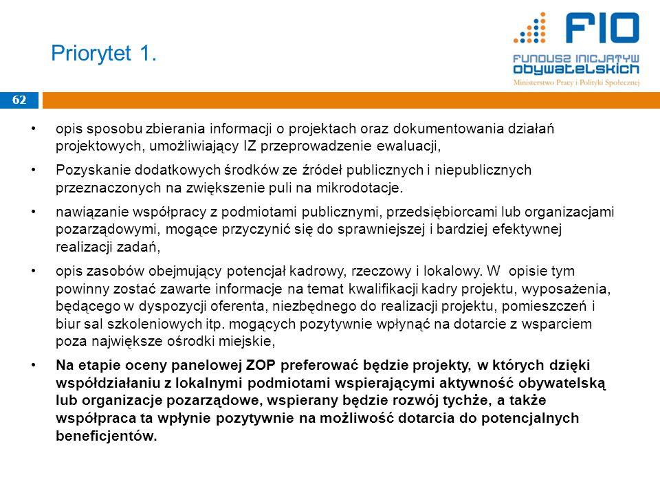 Priorytet 1. 62 opis sposobu zbierania informacji o projektach oraz dokumentowania działań projektowych, umożliwiający IZ przeprowadzenie ewaluacji, P