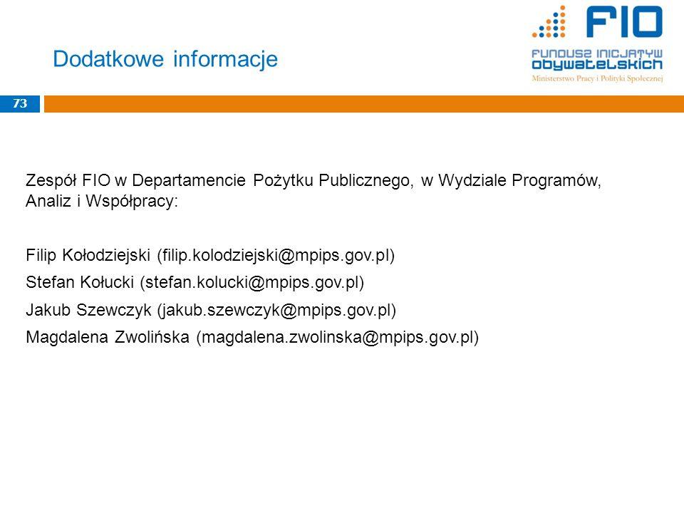Zespół FIO w Departamencie Pożytku Publicznego, w Wydziale Programów, Analiz i Współpracy: Filip Kołodziejski (filip.kolodziejski@mpips.gov.pl) Stefan