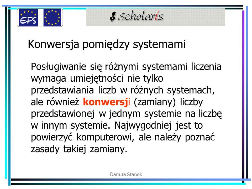 Danuta Stanek Konwersja pomiędzy systemami Posługiwanie się różnymi systemami liczenia wymaga umiejętności nie tylko przedstawiania liczb w różnych systemach, ale również konwersji (zamiany) liczby przedstawionej w jednym systemie na liczbę w innym systemie.