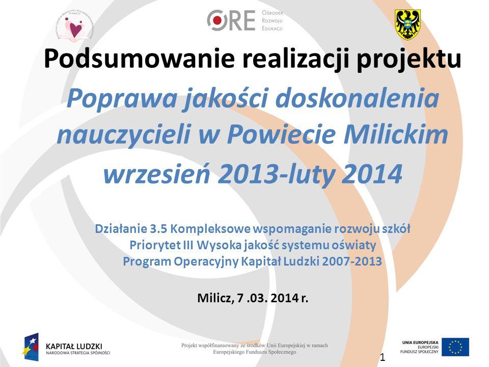 Podsumowanie realizacji projektu Poprawa jakości doskonalenia nauczycieli w Powiecie Milickim wrzesień 2013-luty 2014 Działanie 3.5 Kompleksowe wspoma
