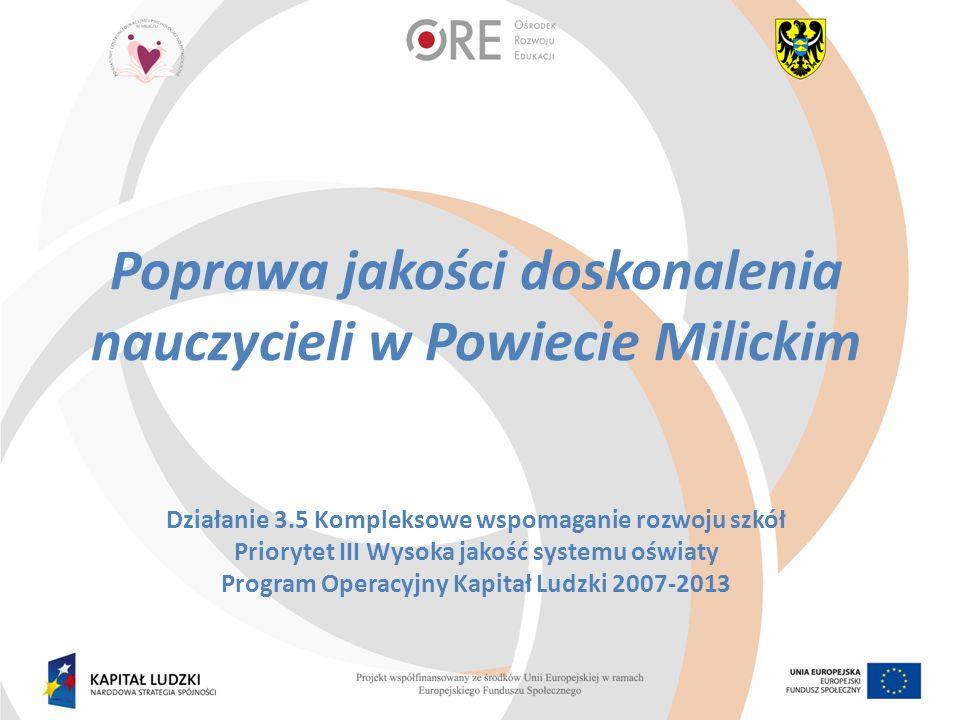 Realizacja działań w ramach RPW zgodnie z wnioskiem o dofinansowanie -rozpoczęcie form doskonalenia zgodne z wnioskiem ( 4Q 2013) -rekrutacja do projektu zgodna z założeniami wniosku o dofinansowanie (złożenie deklaracji przystąpienia placówki do projektu) -realizacja form doskonalenia w grudniu, styczniu i lutym zgodna z RPW w 22 placówkach -zachowanie zasady równości szans kobiet i mężczyzn poprzez zapewnienie równego dostępu do wsparcia; ponadto przeprowadzona została akcja informacyjna przez SORE wśród n-li i n-lek odnośnie zasad równości szans k/m, rozprowadzenie materiałów informacyjnych oraz zebranie oświadczeń o zapoznaniu się z nimi - zorganizowanie konferencji inaugurującej projekt –wrzesień 2013 13