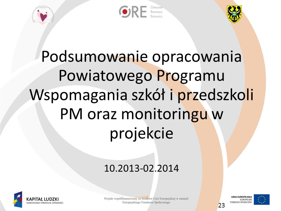 23 Podsumowanie opracowania Powiatowego Programu Wspomagania szkół i przedszkoli PM oraz monitoringu w projekcie 10.2013-02.2014