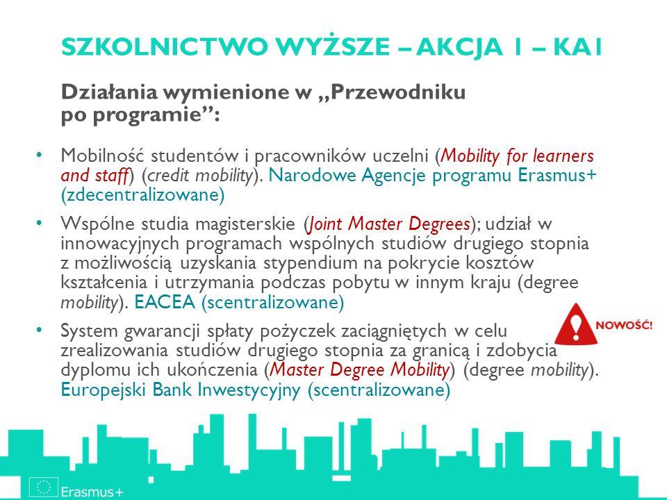 SZKOLNICTWO WYŻSZE – AKCJA 1 – KA1 Działania wymienione w Przewodniku po programie: Mobilność studentów i pracowników uczelni (Mobility for learners a