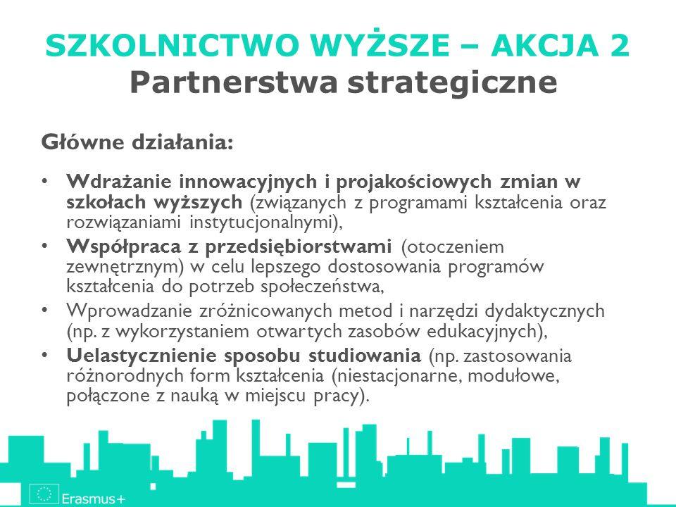 SZKOLNICTWO WYŻSZE – AKCJA 2 Partnerstwa strategiczne Główne działania: Wdrażanie innowacyjnych i projakościowych zmian w szkołach wyższych (związanyc