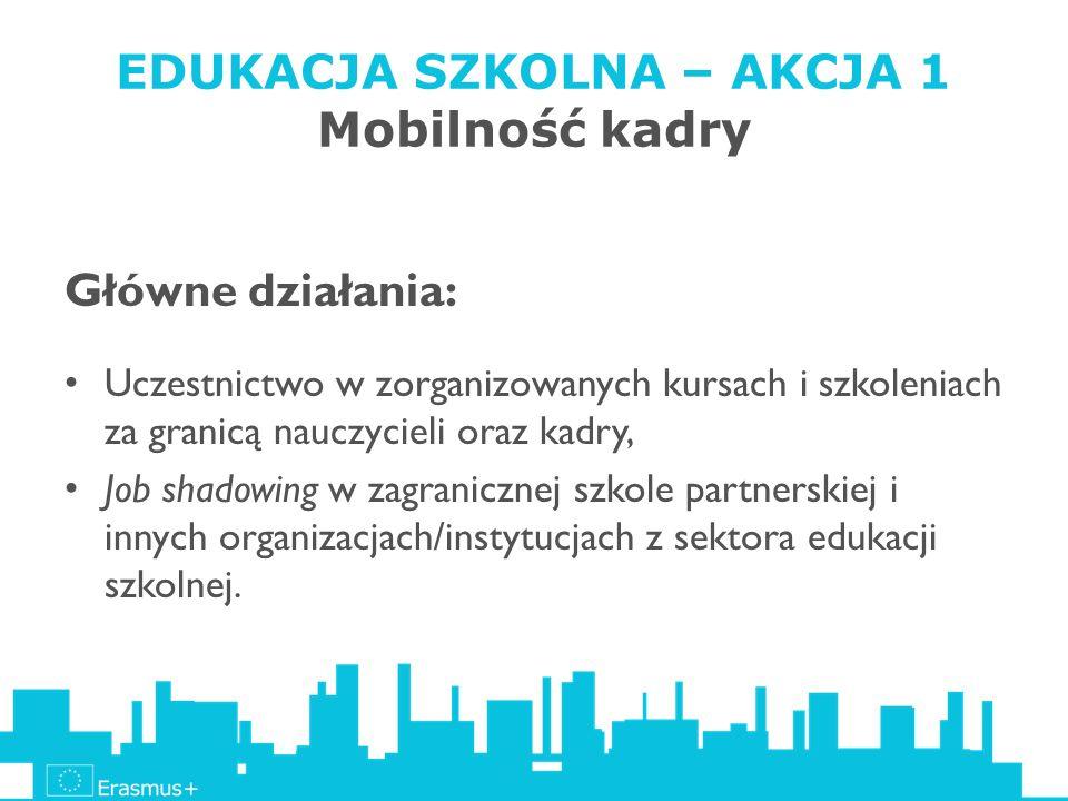 EDUKACJA SZKOLNA – AKCJA 1 Mobilność kadry Główne działania: Uczestnictwo w zorganizowanych kursach i szkoleniach za granicą nauczycieli oraz kadry, J