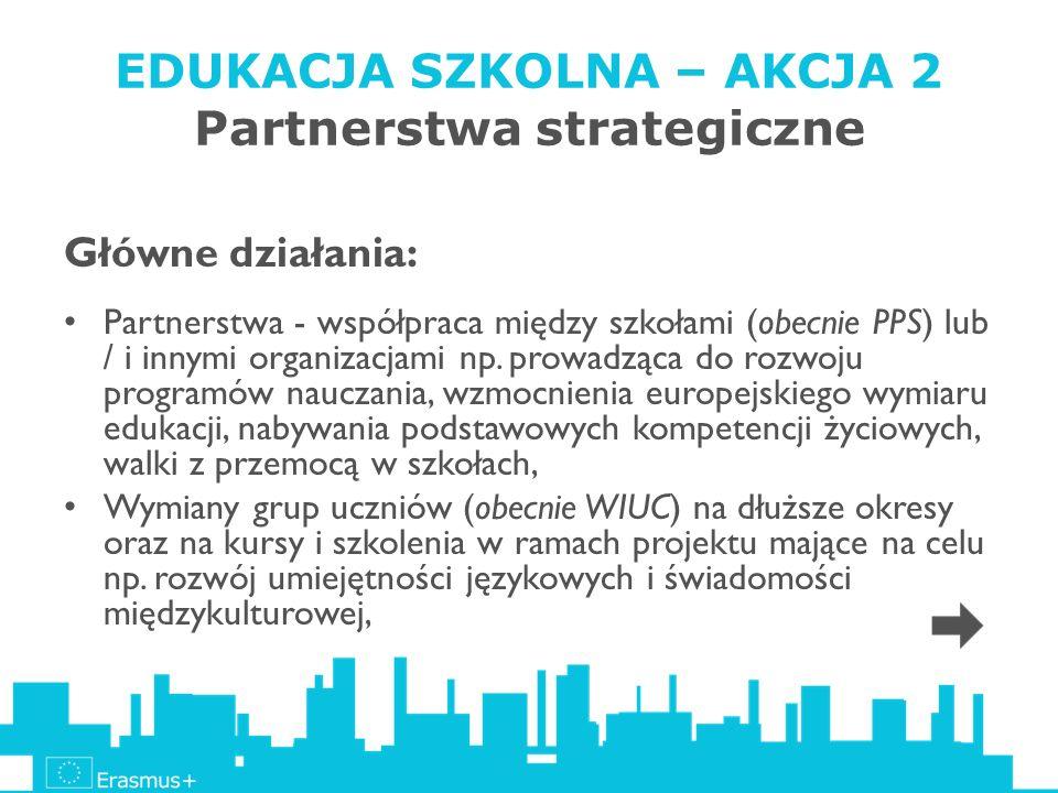 EDUKACJA SZKOLNA – AKCJA 2 Partnerstwa strategiczne Główne działania: Partnerstwa - współpraca między szkołami (obecnie PPS) lub / i innymi organizacj