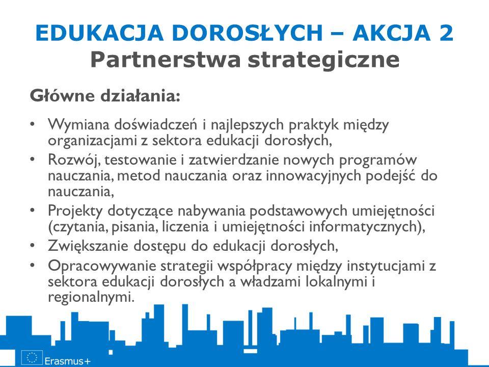 EDUKACJA DOROSŁYCH – AKCJA 2 Partnerstwa strategiczne Główne działania: Wymiana doświadczeń i najlepszych praktyk między organizacjami z sektora eduka