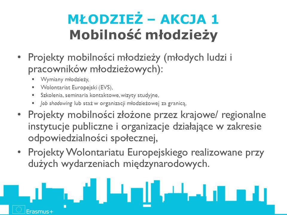 MŁODZIEŻ – AKCJA 1 Mobilność młodzieży Projekty mobilności młodzieży (młodych ludzi i pracowników młodzieżowych): Wymiany młodzieży, Wolontariat Europ