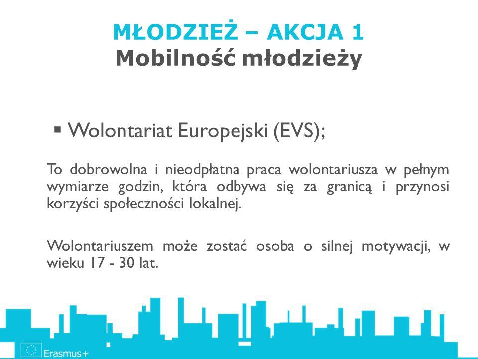 MŁODZIEŻ – AKCJA 1 Mobilność młodzieży Wolontariat Europejski (EVS); To dobrowolna i nieodpłatna praca wolontariusza w pełnym wymiarze godzin, która o