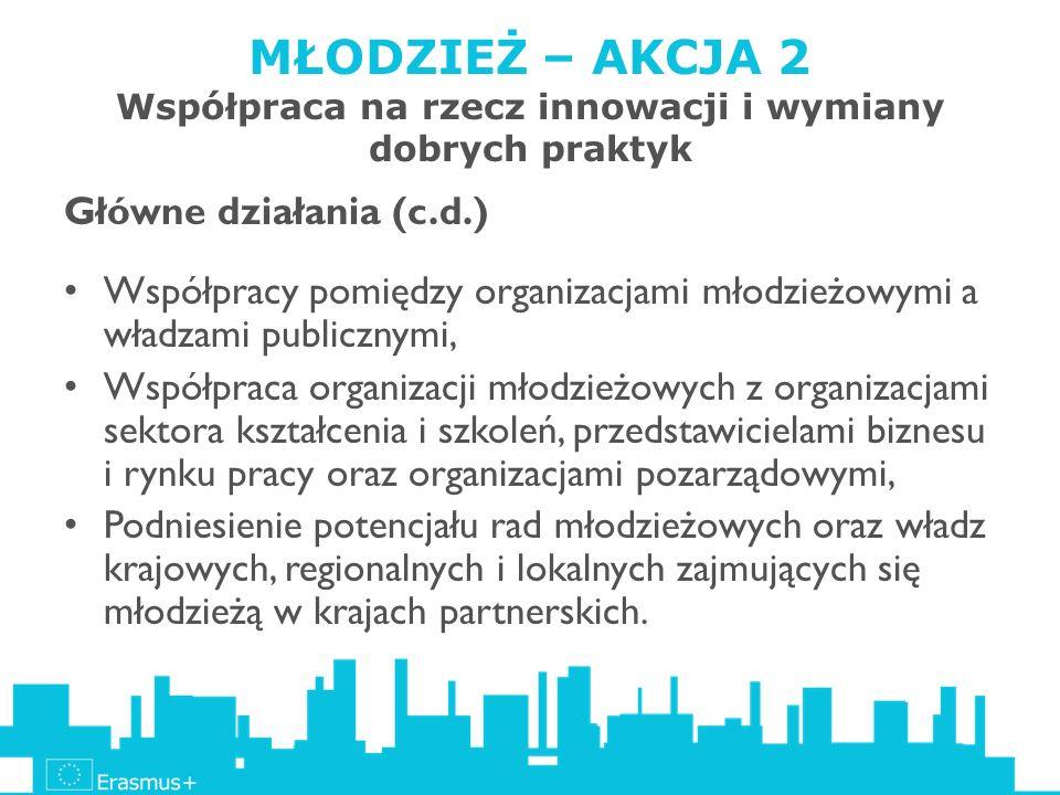 MŁODZIEŻ – AKCJA 2 Współpraca na rzecz innowacji i wymiany dobrych praktyk Główne działania (c.d.) Współpracy pomiędzy organizacjami młodzieżowymi a w