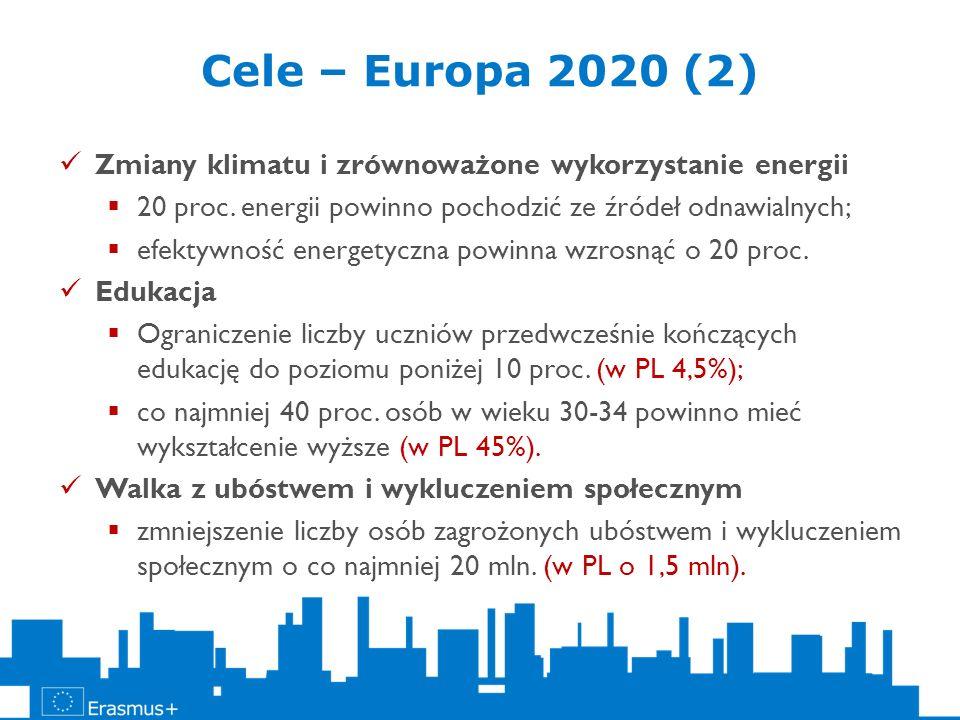 Cele – Europa 2020 (2) Zmiany klimatu i zrównoważone wykorzystanie energii 20 proc. energii powinno pochodzić ze źródeł odnawialnych; efektywność ener