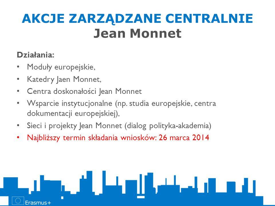 AKCJE ZARZĄDZANE CENTRALNIE Jean Monnet Działania: Moduły europejskie, Katedry Jaen Monnet, Centra doskonałości Jean Monnet Wsparcie instytucjonalne (